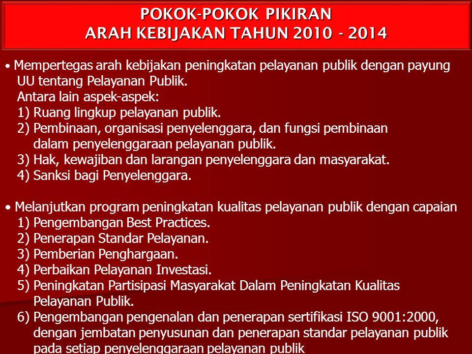 POKOK-POKOK PIKIRAN ARAH KEBIJAKAN TAHUN 2010 - 2014