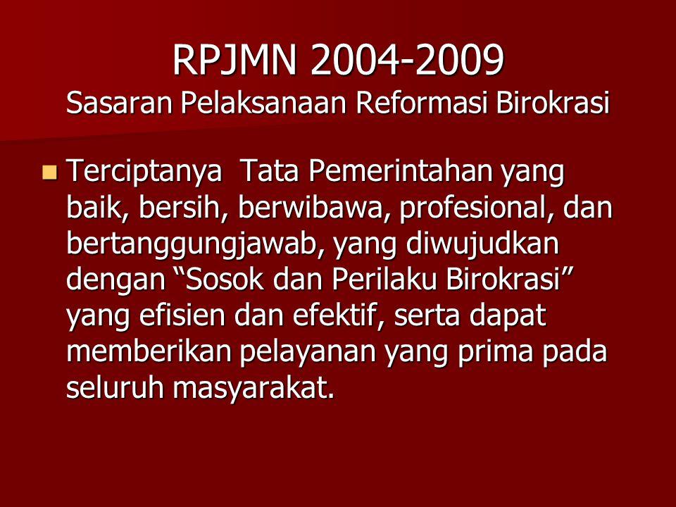 RPJMN 2004-2009 Sasaran Pelaksanaan Reformasi Birokrasi