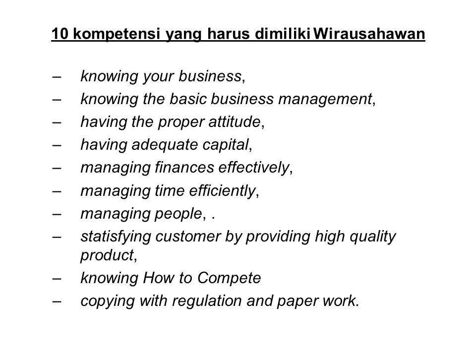 10 kompetensi yang harus dimiliki Wirausahawan