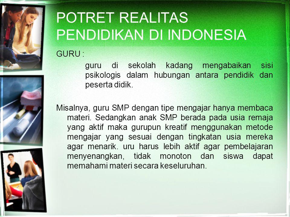POTRET REALITAS PENDIDIKAN DI INDONESIA
