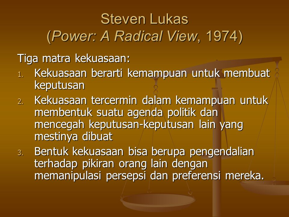 Steven Lukas (Power: A Radical View, 1974)
