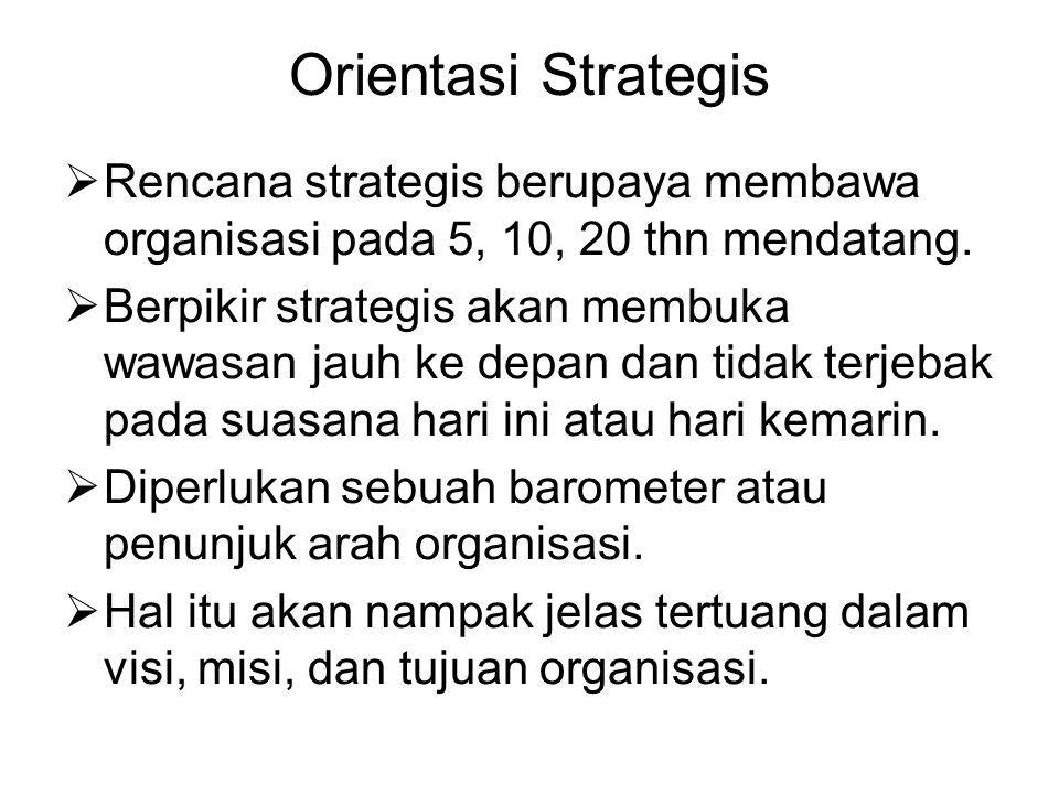 Orientasi Strategis Rencana strategis berupaya membawa organisasi pada 5, 10, 20 thn mendatang.