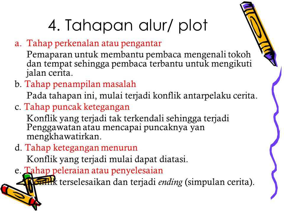 4. Tahapan alur/ plot Tahap perkenalan atau pengantar
