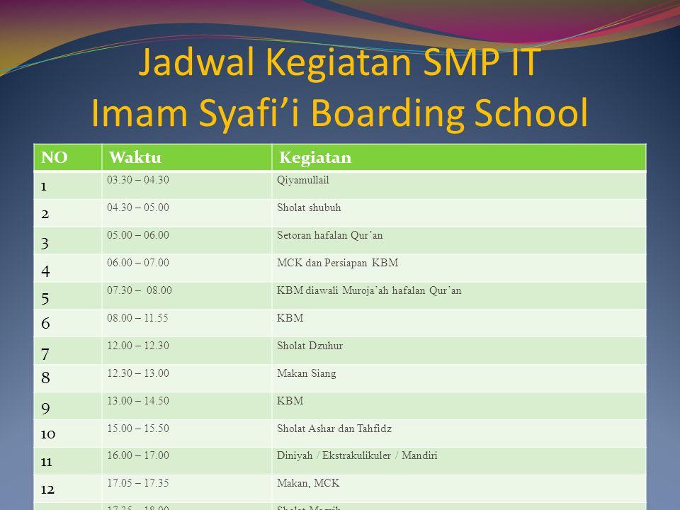 Jadwal Kegiatan SMP IT Imam Syafi'i Boarding School