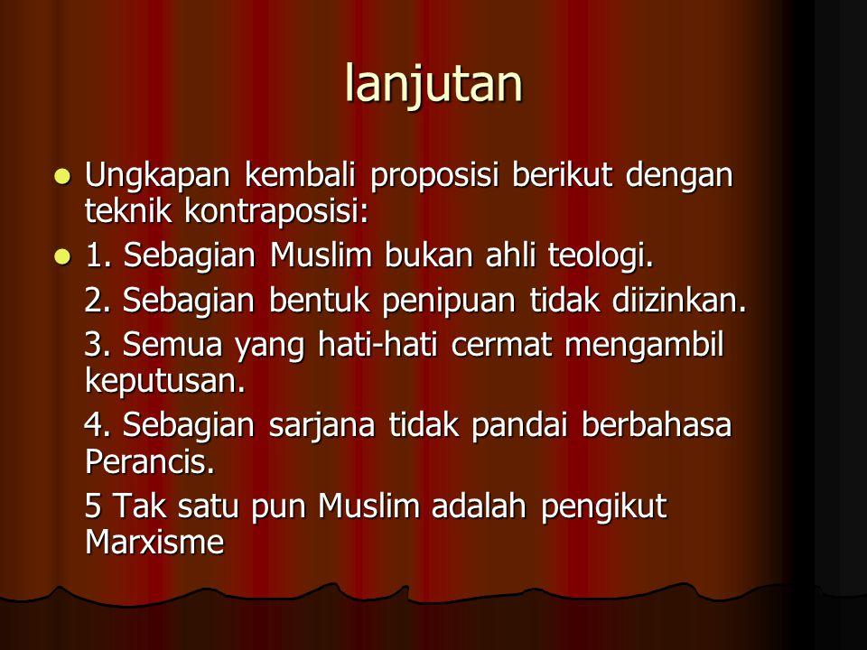 lanjutan Ungkapan kembali proposisi berikut dengan teknik kontraposisi: 1. Sebagian Muslim bukan ahli teologi.
