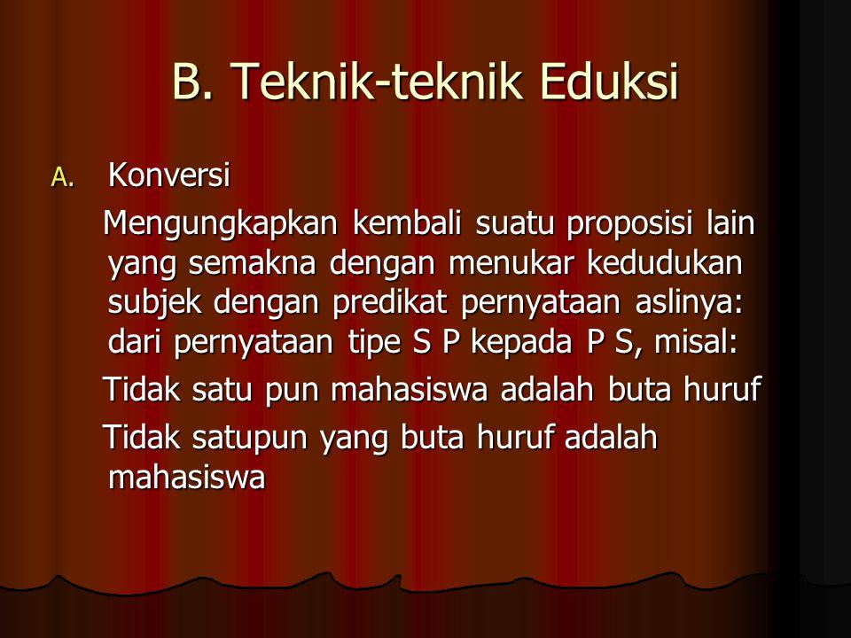 B. Teknik-teknik Eduksi