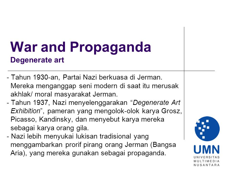 War and Propaganda Degenerate art