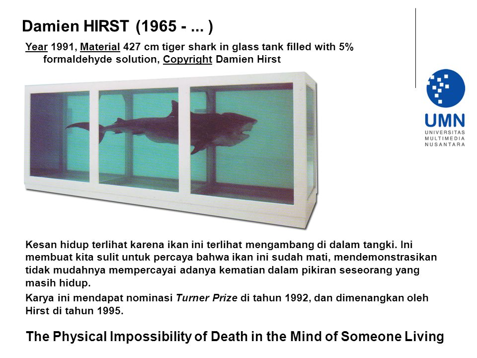 Damien HIRST (1965 - ... ) Year 1991, Material 427 cm tiger shark in glass tank filled with 5% formaldehyde solution, Copyright Damien Hirst.