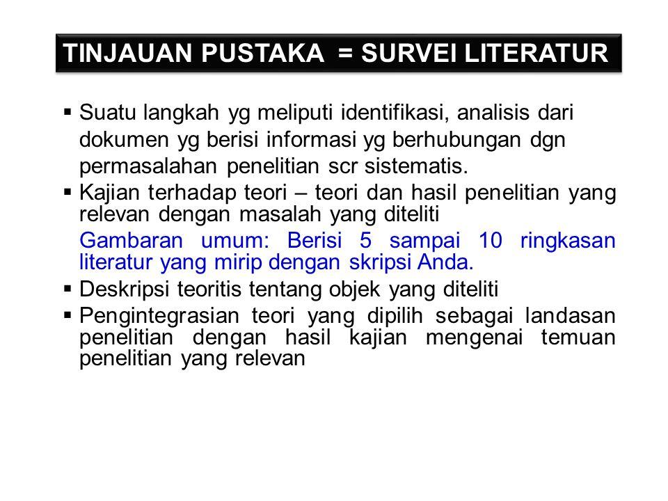 TINJAUAN PUSTAKA = SURVEI LITERATUR