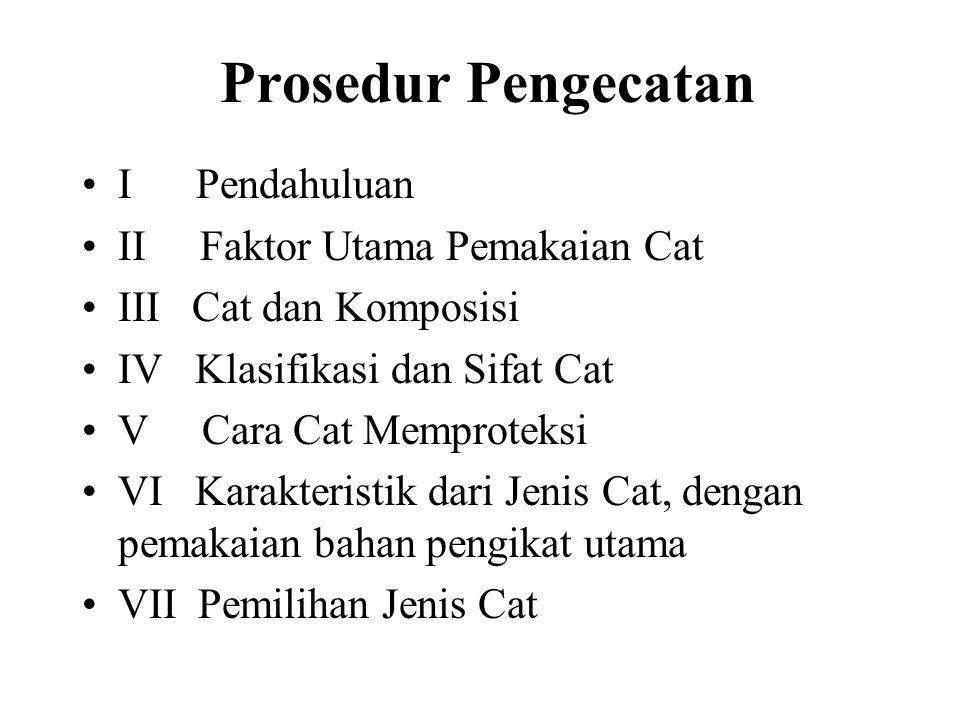 Prosedur Pengecatan I Pendahuluan II Faktor Utama Pemakaian Cat