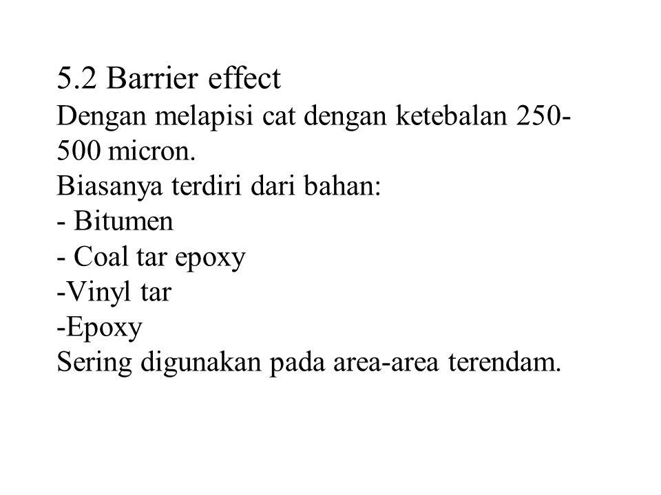 5.2 Barrier effect Dengan melapisi cat dengan ketebalan 250-500 micron.