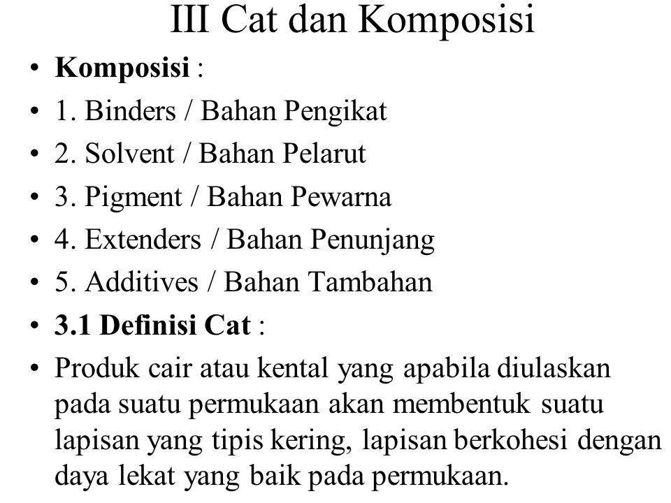 III Cat dan Komposisi Komposisi : 1. Binders / Bahan Pengikat