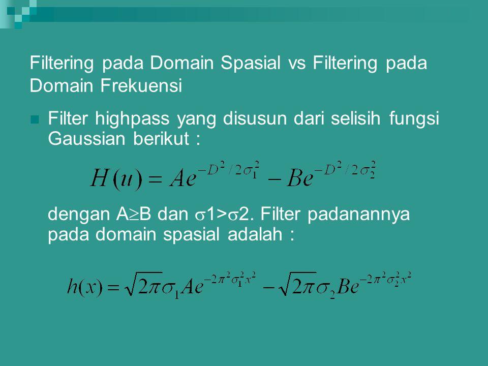 Filtering pada Domain Spasial vs Filtering pada Domain Frekuensi
