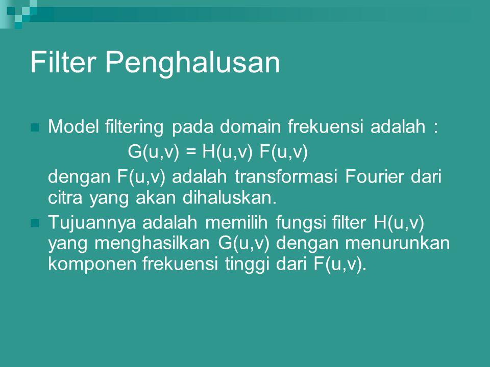 Filter Penghalusan Model filtering pada domain frekuensi adalah :