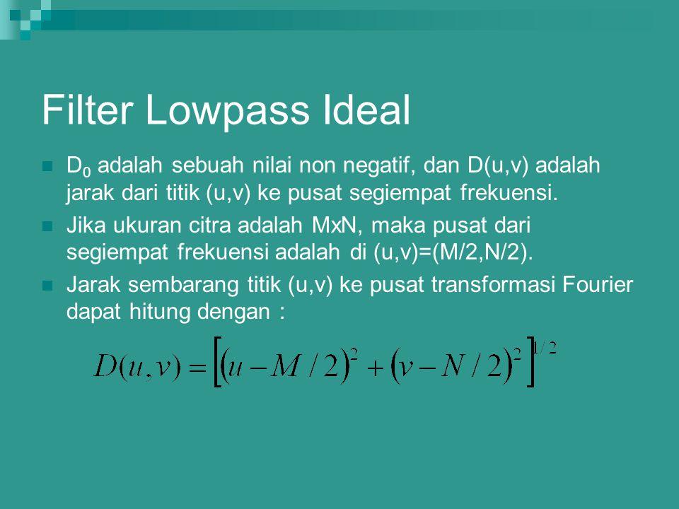 Filter Lowpass Ideal D0 adalah sebuah nilai non negatif, dan D(u,v) adalah jarak dari titik (u,v) ke pusat segiempat frekuensi.