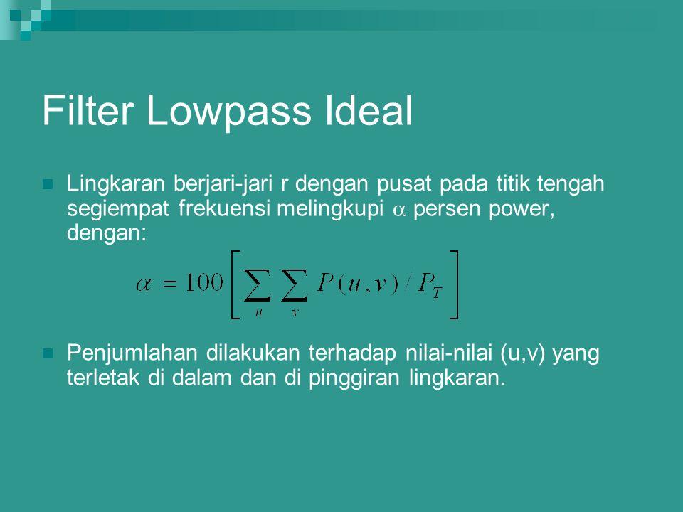 Filter Lowpass Ideal Lingkaran berjari-jari r dengan pusat pada titik tengah segiempat frekuensi melingkupi  persen power, dengan: