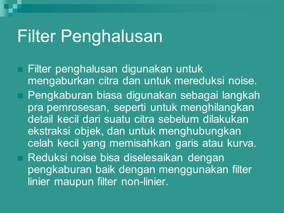 Filter Penghalusan Filter penghalusan digunakan untuk mengaburkan citra dan untuk mereduksi noise.