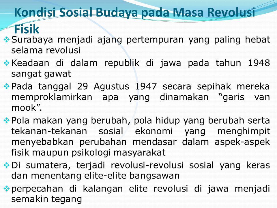 Kondisi Sosial Budaya pada Masa Revolusi Fisik