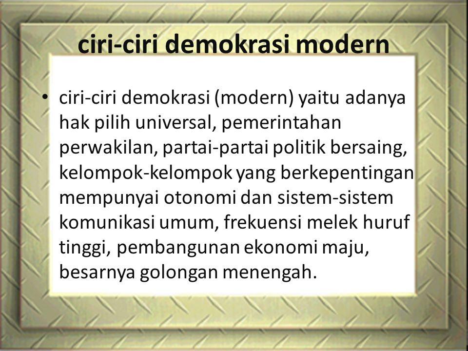 ciri-ciri demokrasi modern