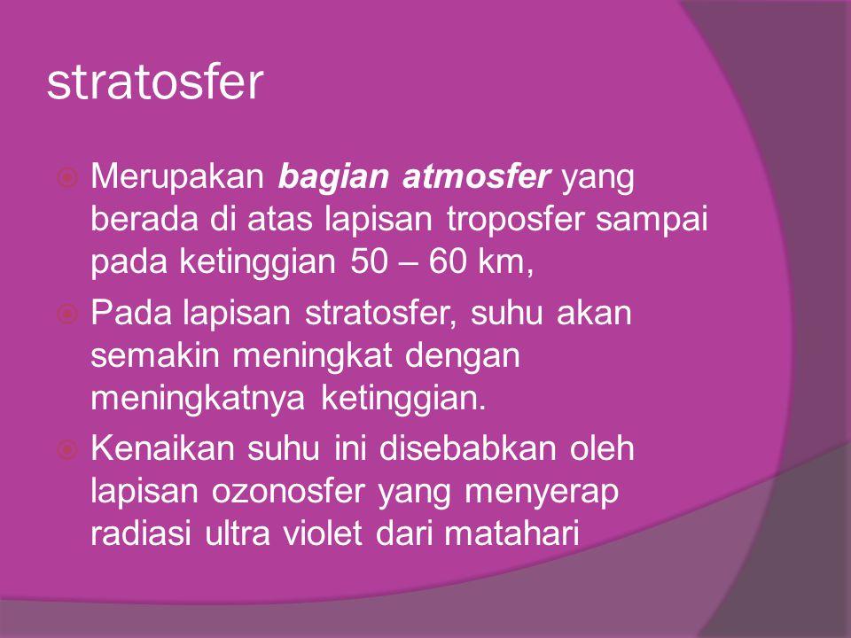 stratosfer Merupakan bagian atmosfer yang berada di atas lapisan troposfer sampai pada ketinggian 50 – 60 km,