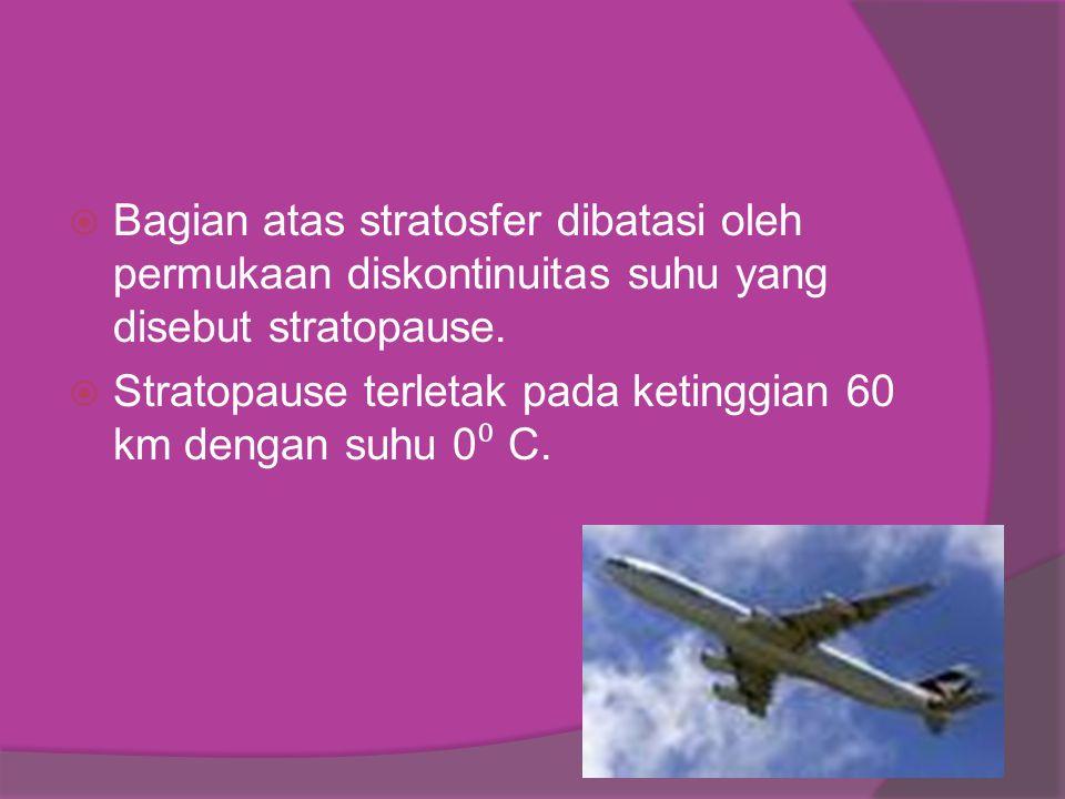 Bagian atas stratosfer dibatasi oleh permukaan diskontinuitas suhu yang disebut stratopause.