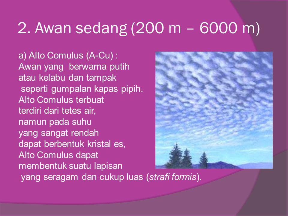2. Awan sedang (200 m – 6000 m)