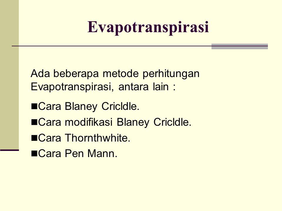 Evapotranspirasi Ada beberapa metode perhitungan Evapotranspirasi, antara lain : Cara Blaney Cricldle.