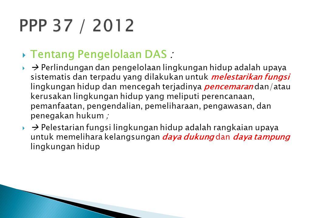 PPP 37 / 2012 Tentang Pengelolaan DAS :