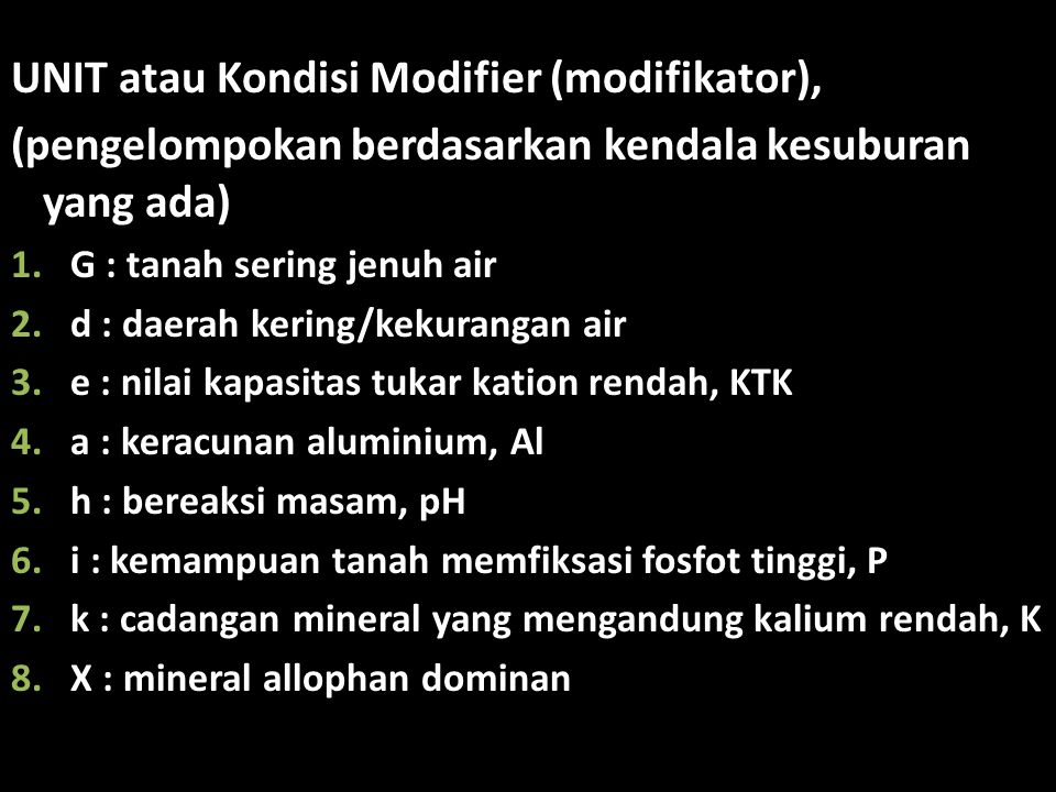 UNIT atau Kondisi Modifier (modifikator),