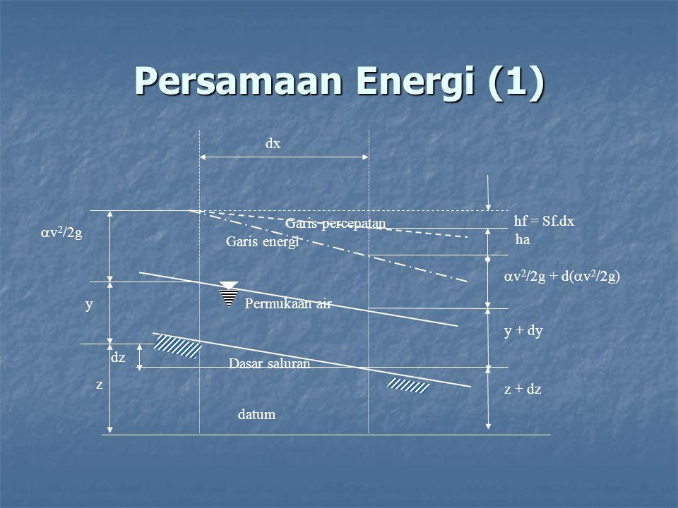 Persamaan Energi (1) dx hf = Sf.dx v2/2g Garis percepatan