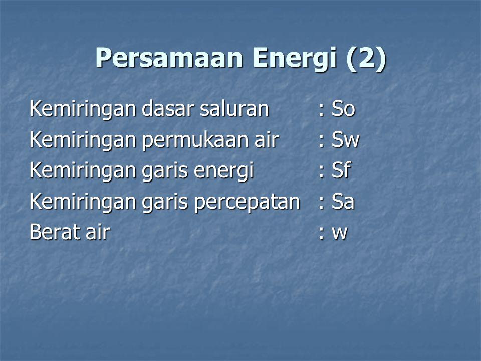 Persamaan Energi (2) Kemiringan dasar saluran : So