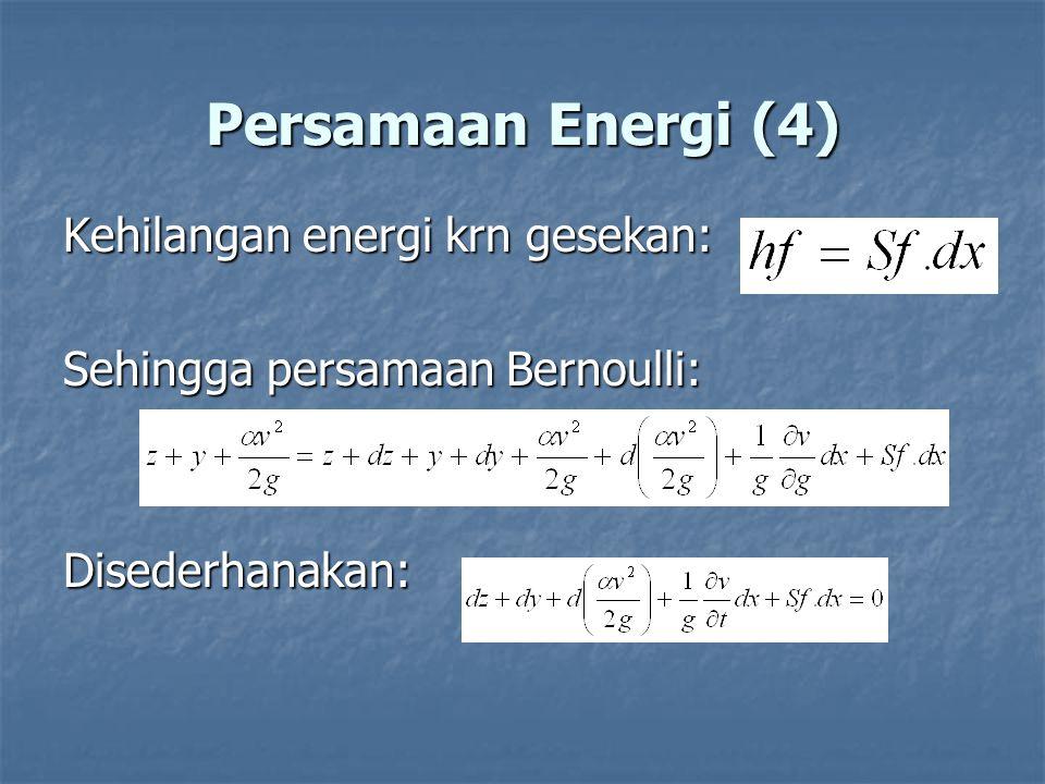 Persamaan Energi (4) Kehilangan energi krn gesekan: