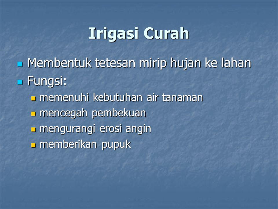 Irigasi Curah Membentuk tetesan mirip hujan ke lahan Fungsi: