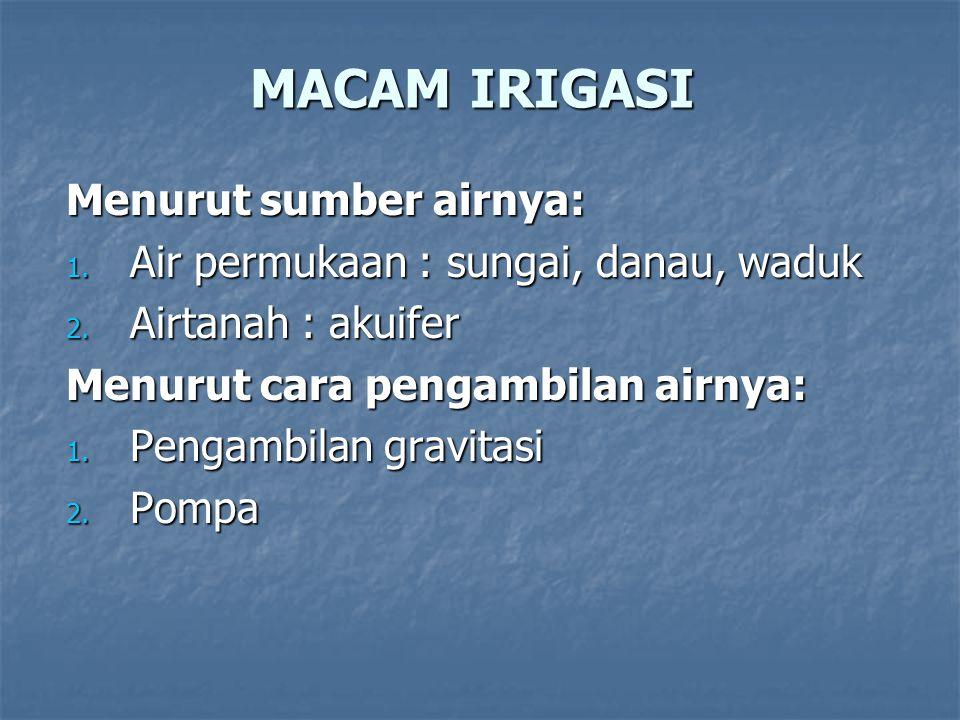 MACAM IRIGASI Menurut sumber airnya: