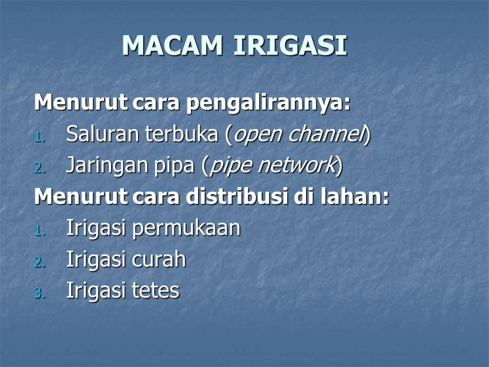 MACAM IRIGASI Menurut cara pengalirannya: