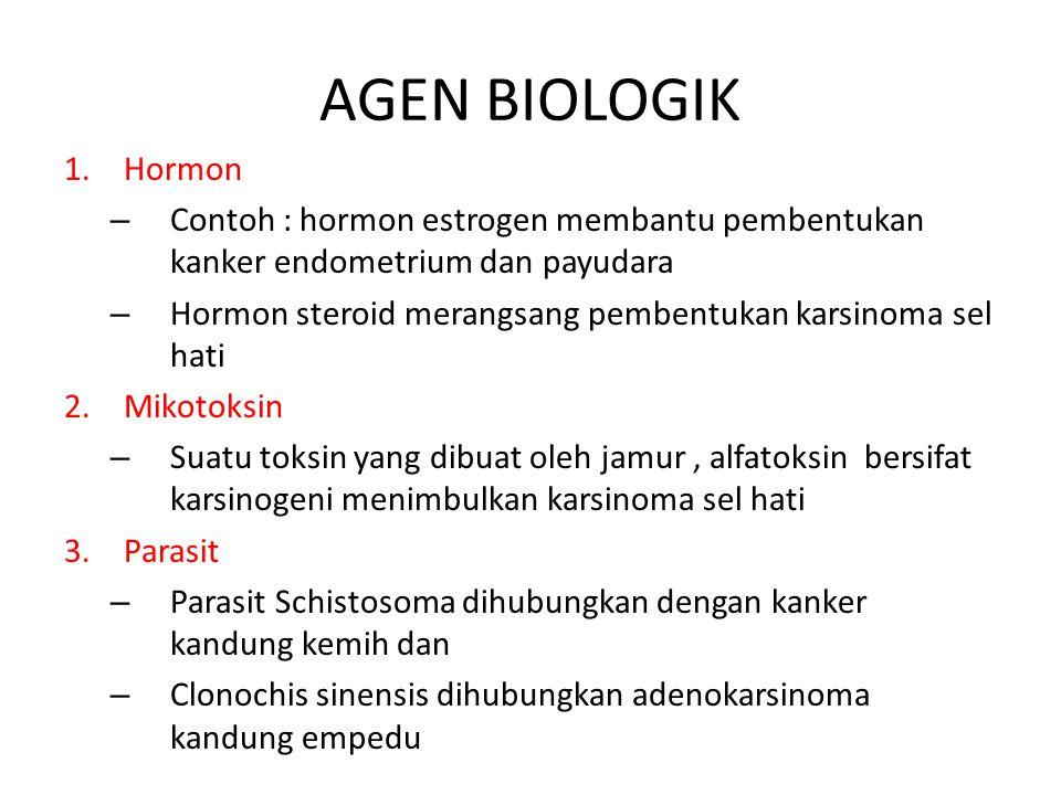 AGEN BIOLOGIK Hormon. Contoh : hormon estrogen membantu pembentukan kanker endometrium dan payudara.