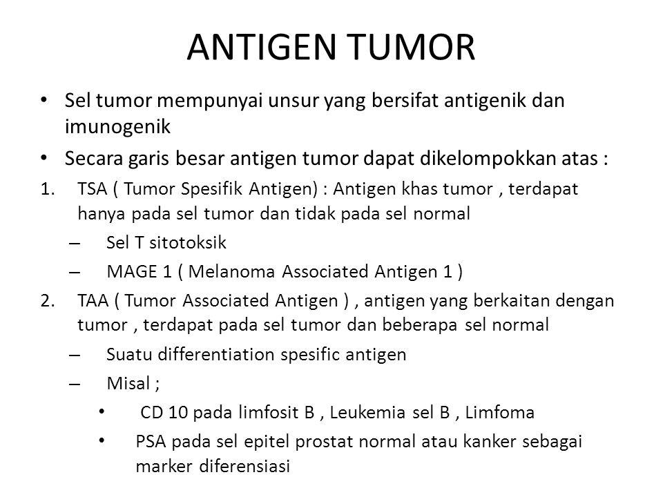 ANTIGEN TUMOR Sel tumor mempunyai unsur yang bersifat antigenik dan imunogenik. Secara garis besar antigen tumor dapat dikelompokkan atas :