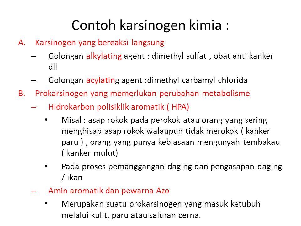 Contoh karsinogen kimia :