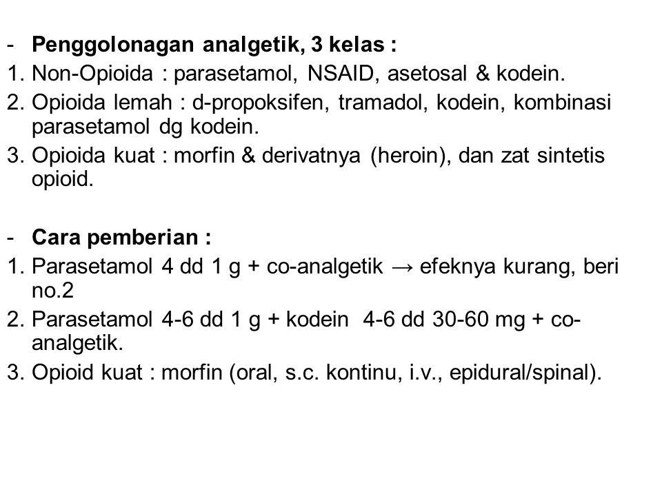 Penggolonagan analgetik, 3 kelas :