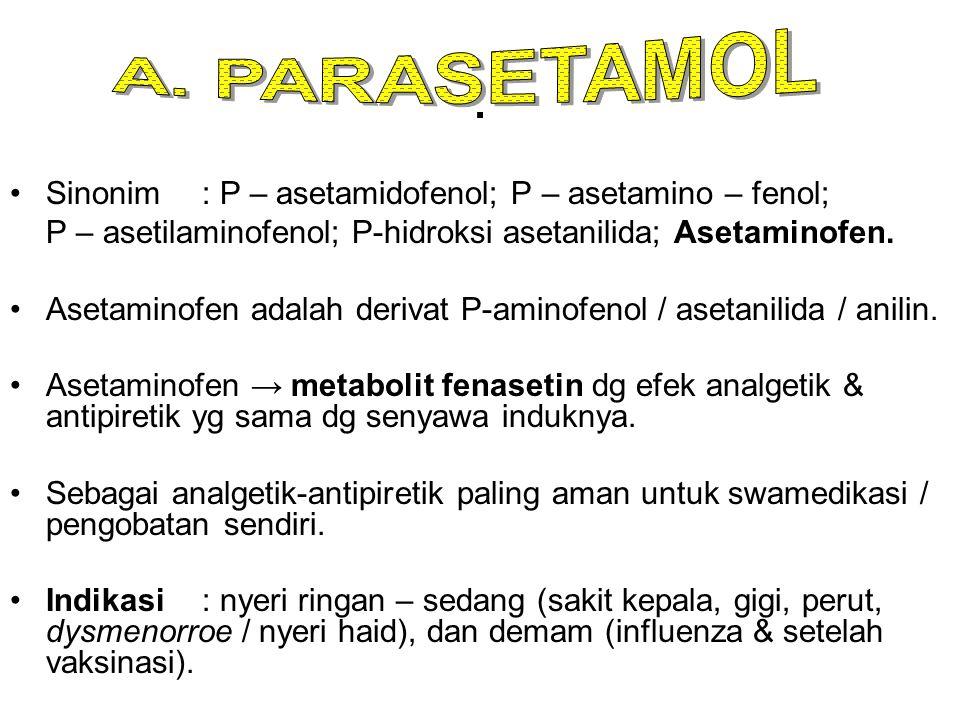 . Sinonim : P – asetamidofenol; P – asetamino – fenol;