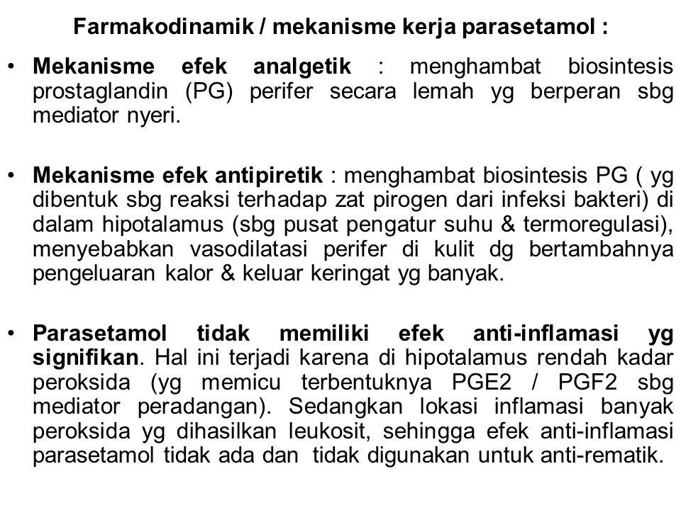 Farmakodinamik / mekanisme kerja parasetamol :