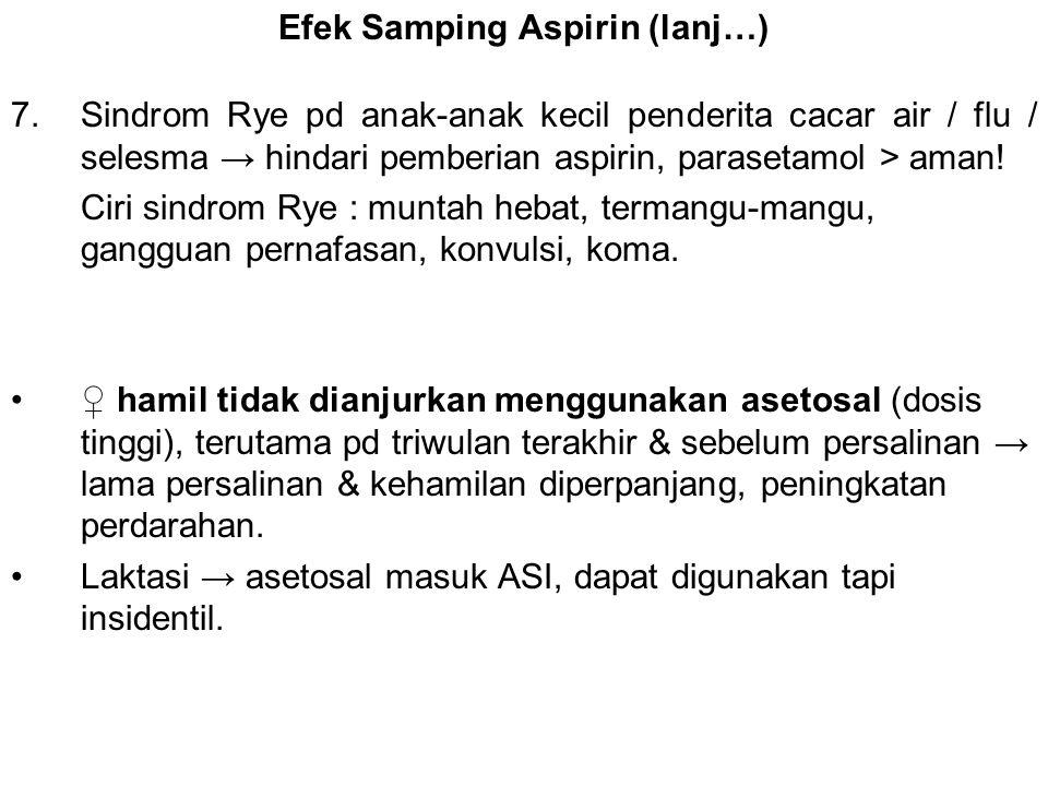 Efek Samping Aspirin (lanj…)