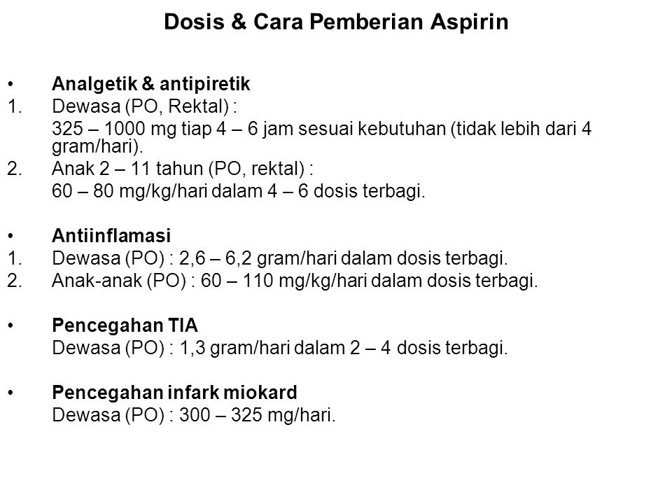 Dosis & Cara Pemberian Aspirin