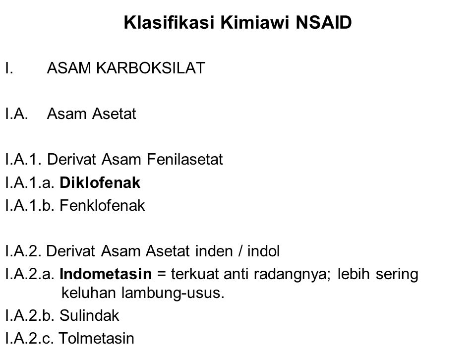 Klasifikasi Kimiawi NSAID