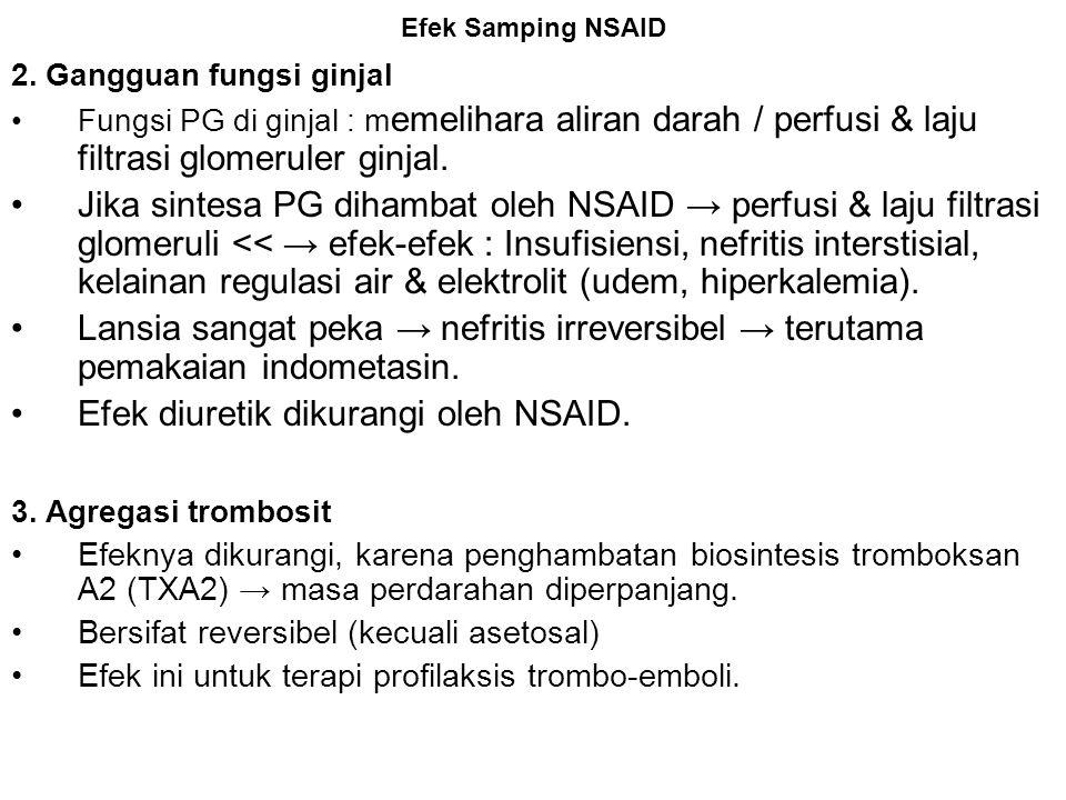 Efek diuretik dikurangi oleh NSAID.