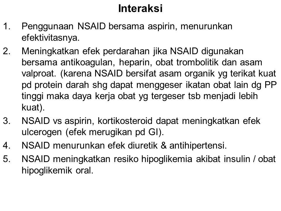 Interaksi Penggunaan NSAID bersama aspirin, menurunkan efektivitasnya.