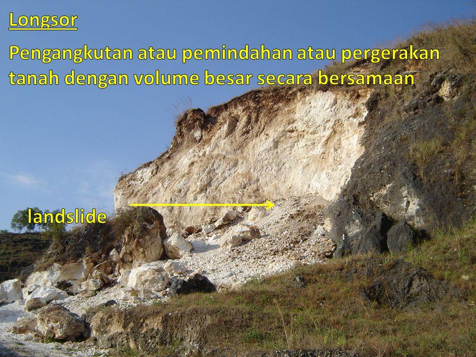 Longsor Pengangkutan atau pemindahan atau pergerakan tanah dengan volume besar secara bersamaan.