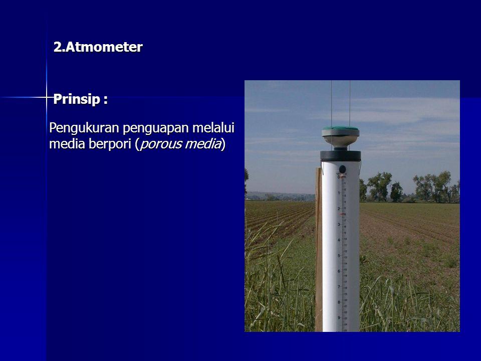 2.Atmometer Prinsip : Pengukuran penguapan melalui media berpori (porous media)