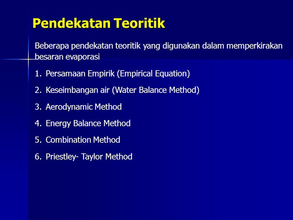 Pendekatan Teoritik Beberapa pendekatan teoritik yang digunakan dalam memperkirakan besaran evaporasi.