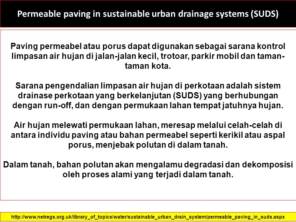 Permeable paving in sustainable urban drainage systems (SUDS)